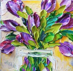 Purple Tulips Painting  by Jan Ironside