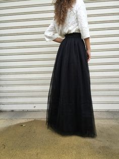 Black Long Tulle Skirt Women Tutu Skirt by MDSewingAtelier on Etsy-$119.00-Assorted Colors