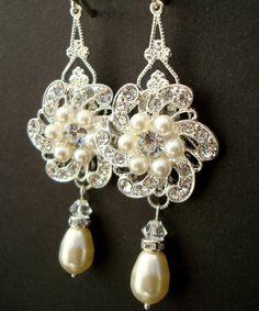 Bridal Earrings, Ivory Swarovski Pearls, Teardrop Pearls, Rhinestone Earrings, AMELIA. $38.00, via Etsy.