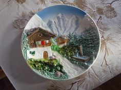 "Majolica Plate Alpine Scene Marked on the back '3831' ""G"" Made in Western Germany by MilliesAttique on Etsy"