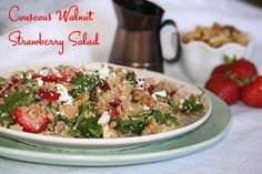 Couscous Walnut Strawberry Salad – a simple, fresh, quick and nutritious blend of couscous, strawberries, walnuts and more!