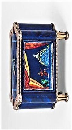Attributed to Maria Likarz (Austrian, Title: Emaildose Medium: golde-plated silver, enamel Size: x 14 x 5 cm. Silver Enamel, Silver Plate, Glass Art, Plating, Boxes, Designers, Female, Medium, Crates