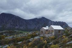 Vega Cottage in the rocky, maritime shrubland and mountainous surroundings, Norway.  Designed by Kolman Boye Architects.