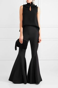 Black crepe Concealed hook fastening at front 82% triacetate, 18% polyester Dry clean