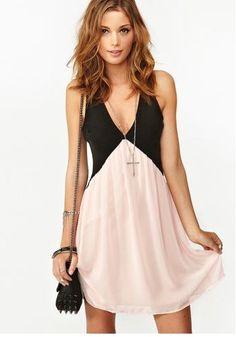 Women's New Style Color Contrast Backless Deep V-neck Sleeveless Chiffon Tank Dress