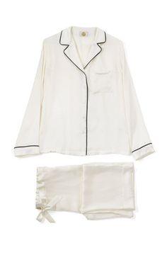 Ivory Silk Pyjamas Long - Yolke