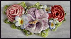 Ceramic Floral Swag necklace component. $25.00, via Etsy.