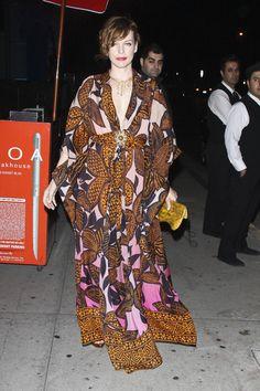 #Milla #Jovovich wears a lovely ethnic print 70's dress.