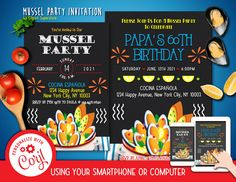 Tapas Mussel Invitation Editable Template Instant Download Digital File by clipartsuperstore on Etsy Digital Stamps, Digital Scrapbooking, Silhouette Cameo Free, Mussels, Party Items, Party Invitations, Rsvp, Tapas, Templates