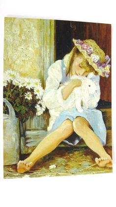 """""""Girl with a Rabbit"""" -- by Olga Simonova Russian) Modern Art, Contemporary Art, Portraits, Animation, Love Hat, Child And Child, Happy Spring, Girl With Hat, Beautiful Artwork"""