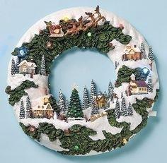 Musical Christmas Wreath Village Scene