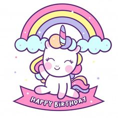 Cute unicorn vector sit on happy birthday label Premium Vector Cute Unicorn, Happy Unicorn, Kawaii Doodles, Cute Kawaii Drawings, Cute Doodles, Unicorn Birthday, Unicorn Party, Gif Mignon, Doodles Bonitos