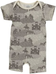 Winter Water Factory Summer Romper (Baby) - Kights/Dragons Grey