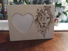 Lioness Rustic Engraved Wood Heart Picture Photo Frame