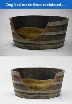 Dog bed made from reclaimed wine barrell. I make furniture from reclaimed wood, specifically reclaimed wine barrels in this instance. Each wine barrel is unique in color and shape so your order would be unique to you and all items are made after your order. Please note shipping can be very expensive. Please let me know if you want to order before placing your order and we can get a shipping estimate. If you live close to us you may come pick it up yourself or we can hand deliver it to you…