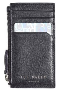Free shipping and returns on Ted Baker London 'Longzip' Card & Coin Case at Nordstrom.com. Richly grained leather adds natural texture to a spacious, well-made case featuring a zip-closure compartment for coins or other small items and an array of card slots to help you stay organized.