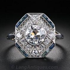 1.28 Carat  Diamond and Calibre Sapphire Art Deco Ring - Art Deco Jewelry - Vintage Jewelry