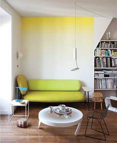 grasgrüne Ombre Wand Gestaltung Ideen modern