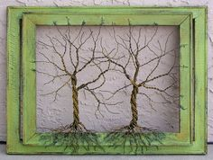 Original Large Tree Abstract Sculpture Painting ... Wire tree on double distressed salvaged frame, by Amy Giacomelli. $250.00, via Etsy.