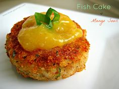 Guyanese-style Fish Cakes with Mango Sour - totally different from Ma's; more spice, greater fish:potato ratio, and breaded. But still sounds good enough to try. Can't go wrong with a few fish cakes, dhal and rice. Fish Recipes, Seafood Recipes, Indian Food Recipes, Cooking Recipes, Drink Recipes, Seafood Appetizers, African Recipes, Party Appetizers, What's Cooking