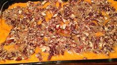 Sweet Potato Casserole I - Printer Friendly Thanksgiving Dinner Sides, Holiday Dinner, Thanksgiving Recipes, Holiday Recipes, Holiday Foods, Holiday Treats, Holiday Fun, Sweet Potato Pecan, Mashed Sweet Potatoes
