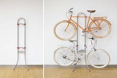 Iron Pipe Bike Storage Design With Wooden Floor And White Wall, bike storage sheds, vertical bike storage ~ Home Design Bike Storage Options, Bike Storage Design, Bike Storage Home, Diy Storage, Storage Sheds, Smart Storage, Kitchen Storage, Diy Interior, Home Interior Design