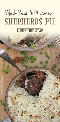 Black Bean & Mushroom Shepherds Pie by Trinity with warming spices. Gluten-free, vegan, healthy.