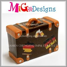 ceramic luggage bank-brown color, decal