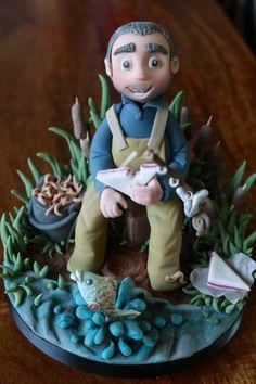 Fisherman - Cake by Zoe's Fancy Cakes Fondant People Tutorial, Cake Topper Tutorial, Fondant Man, Fondant Toppers, Gone Fishing Cake, Fishing Cakes, Fisherman Cake, Zoes Fancy Cakes, Dad Cake