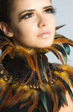 BELSHAZZAR'S FEAST – Steampunk Feather Collar, Handmade, Golden Yellow Ochre Coque Feathers, Brown Feather Trim, Fabulous, Black Duchess Satin, Alternative, Baroque, Accessory, Fashion, Victorian, Costume, Gothic, Glamour, Vintage Opulence, Gaga, Prom, Burlesque, Noir, Hollywood, Prom Queen, Desirable, Theatre, Theatrical, Glam Rock, Luxe, Rococco, Princess, Diva, Dramatic, Baroque, Alternative, Artisan, Avant Garde, Haute Couture, Burlesque, Lovechild Boudoir, British Independent Designer