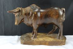 Vintage Hand Carved Ironwood Figurine Scottish Highlands Bull, Cattle, Sculpture, Carving