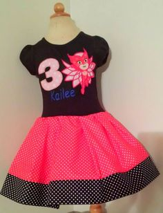 Disney PJ Masks Owlette Birthday Appliqued T Shirt Dress Available from 12m to 14/16