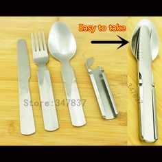 Excellent Quality Outdoor use portable stainless steel camping supplies Multi-functional purpose Spoon Fork knife tableware tool