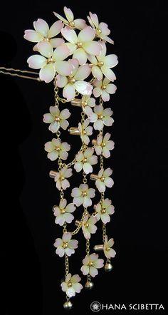 Weeping Cherry Blossom Kanzashi Hair Pin - Hana Scibetta