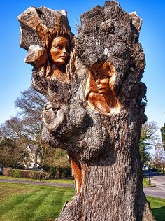Wood Spirits: Why would anyone want to get rid of their tree stump when they have this option? Tree Faces, Tree People, Tree Carving, Art Carved, Wow Art, Wooden Art, Wood Sculpture, Tree Art, Amazing Art