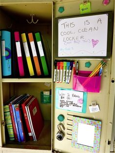 Use cute, colorful notebooks and binders to give your locker a little oomph without filling it with lots of decor!