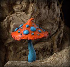 Light blue  bright orange amanita magic polymer clay toadstool Home decor,Fairy Garden