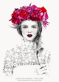 An illustration of our Velvet Heart bridal editorial by Kelly Smith. View on The LANE http://thelane.com/Backstage/post/2013-04-16-kelly-smith-illustrations
