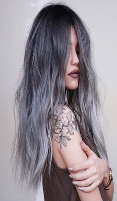 The 14 Coolest Grey Ideas for 2019 ombre hair color - Ombre Hair Metallic Hair Color, Silver Ombre Hair, Ombre Hair Color, Cool Hair Color, Gray Ombre, Hair Colour, Curled Prom Hair, Shaggy Long Hair, Hair Color Caramel