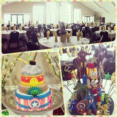 First #birthday #setup. #avengers #ironman #thor #captainamerican #thehulk #hvc #harborviewcenter #party #banquet #buffet #venue #ballroom #centerpiece #cake #fondant #fun #creative #decoration #hawaii