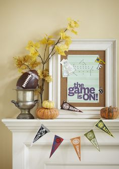 Create football fever without disrupting your home's decor. String mini pennants along a shelf for a quick and easy garland.