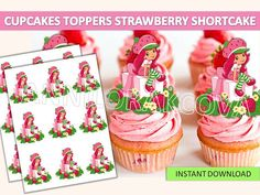 Strawberry Shortcake Cupcake Toppers Party Printables
