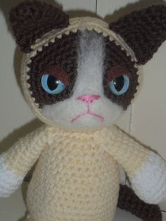 Grumpy Cat Meme crochet plush toy handmade kitty doll PREORDER. $32.00, via Etsy.