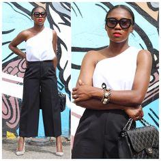 More looks by Ranti Onayemi: http://lb.nu/ranti  #chic #minimal #street #culottes #blackandwhite #chanelclassic #tomford #bananarepublic #ootd