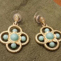 Teal and gold plated earrings Beautiful blue cross earrings Jewelry Earrings