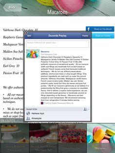 The Hamptons Café Tablet Digital Menu in Arabic, English, Russian  #tabletmenu #hamptons #ipadmenu #facebookshare Raspberry Ganache, Digital Menu, Madagascar Vanilla, Ipad, Sicilian, Pistachio, Macarons, The Hamptons, Caramel