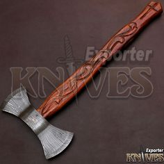 KNIVES EXPORTER New Double Edge Bearded Wooden Handle Damascus Steel Axe #KNIVESEXPORTER