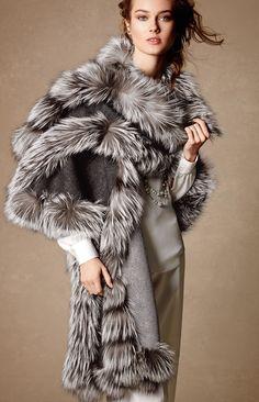 Belle Fare Cashmere Reversible Fox Fur-Trim Cape, Gray/Brown