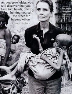I love these words from Mother Teresa and this image of a fragile Audrey Hepburn choosing to make a difference. :)