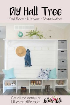 Hall tree for entryway or mudroom to organize coats and shoes White wood with gray decor and shiplap halltree entrywayideas mudroomideas mudroo H… – Mudroom Diy Home Furniture, Diy Home Decor, Furniture Plans, Modern Hall Trees, Hall Tree Bench, Cube Organizer, Diy Décoration, Decorating Small Spaces, Interior Decorating